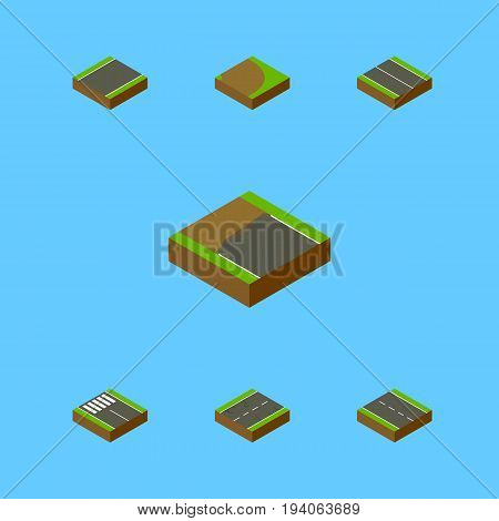 Isometric Way Set Of Cracks, Incomplete, Flat And Other Vector Objects. Also Includes Driveway, Cracks, Unilateral Elements.