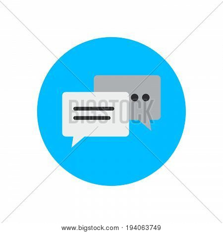 Speech bubbles flat icon. Round colorful button Chatting circular vector sign logo illustration. Flat style design