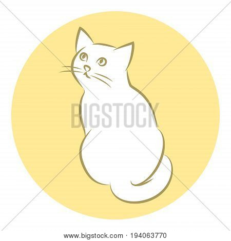Line Art Vector Illustration of A White House Cat. Drawing. Rear View.