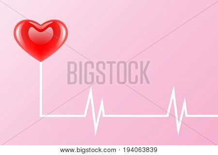 vector popular icon, glossy red color heart shaped with heartbeat electrocardiogram, health concept
