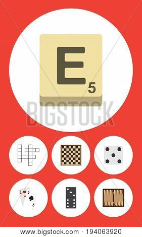 Flat Icon Play Set Of Ace, Chess Table, Dice And Other Vector Objects. Also Includes Play, Ace, Checkerboard Elements.