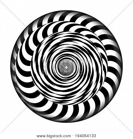 Radial Spiral With Rays. Vector Psychedelic Illustration. Twisted Rotation Effect. Black And White Vortex
