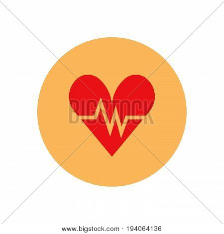Heartbeat flat icon. Round colorful button Cardiology circular vector sign logo illustration. Flat style design