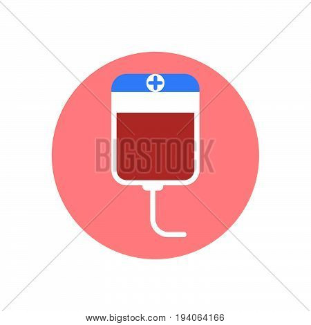 Blood transfusion plastic bag flat icon. Round colorful button circular vector sign logo illustration. Flat style design