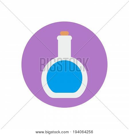 Round bottom flask flat icon. Round colorful button Lab glassware circular vector sign logo illustration. Flat style design