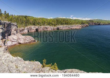 Scenic View of Lake Superior's rocky shore.