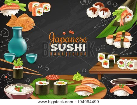 Black chalkboard background with various kinds of sushi maki sake and other japanese dishes realistic vector illustration