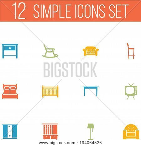 Set Of 12 Decor Icons Set.Collection Of Television, Cot, Bedroom And Other Elements.