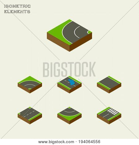 Isometric Road Set Of Plash, Bitumen, Road And Other Vector Objects. Also Includes Plash, Road, Footer Elements.