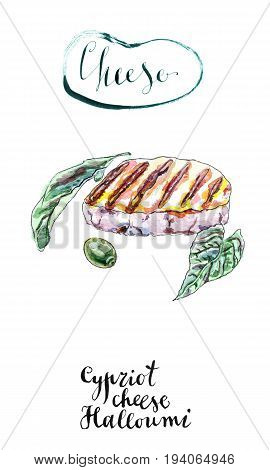 Watercolor grilled slice of Cypriot halloumi cheese. With grill marks olive and fresh green herbs. Hand drawn illustration