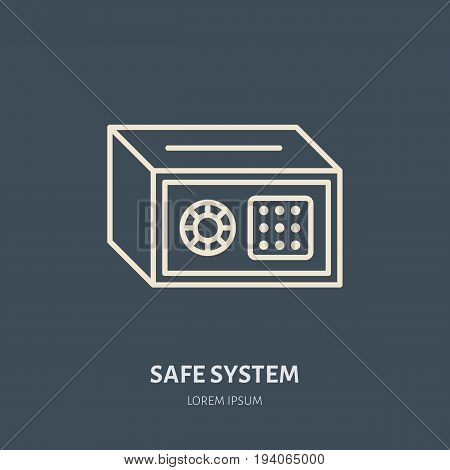 Cash safe vector flat line icons. Retail store supplies, trade shop equipment sign. Commercial object thin linear sign for warehouse store.