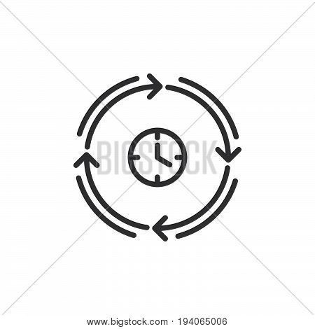 Clock and arrows around line icon outline vector sign linear style pictogram isolated on white. Fast development symbol logo illustration
