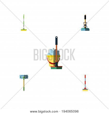 Flat Icon Broomstick Set Of Mop, Besom, Broom And Other Vector Objects. Also Includes Besom, Broom, Mop Elements.