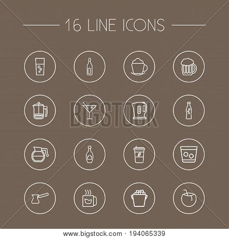 Set Of 16 Drinks Outline Icons Set.Collection Of Cappuccino, Coffeepot, Cocktail And Other Elements.