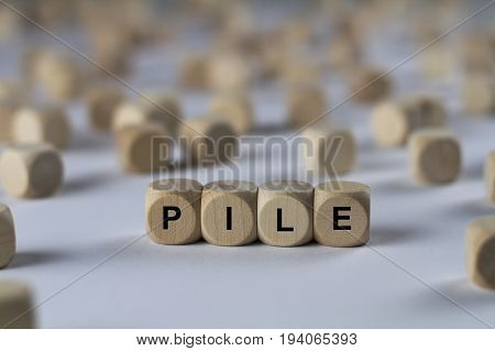 Pile - Cube With Letters, Sign With Wooden Cubes