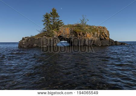A rock island out on Lake Superior.