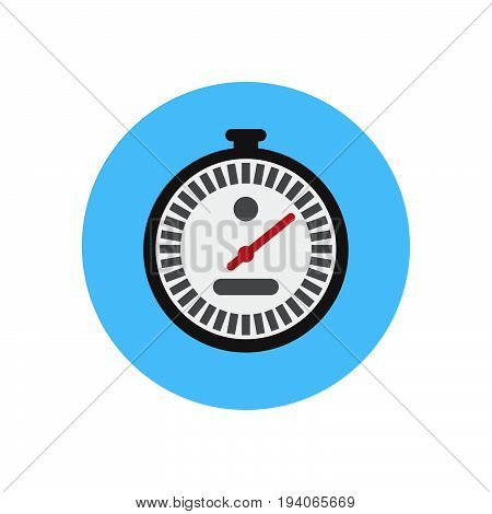 Stopwatch flat icon. Round colorful button Chronometer circular vector sign logo illustration. Flat style design