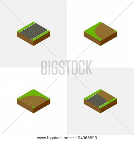 Isometric Way Set Of Turning , Unfinished, Sand Vector Objects. Also Includes Rotation, Sand, Unfinished Elements.