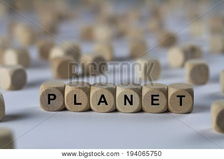Planet - Cube With Letters, Sign With Wooden Cubes