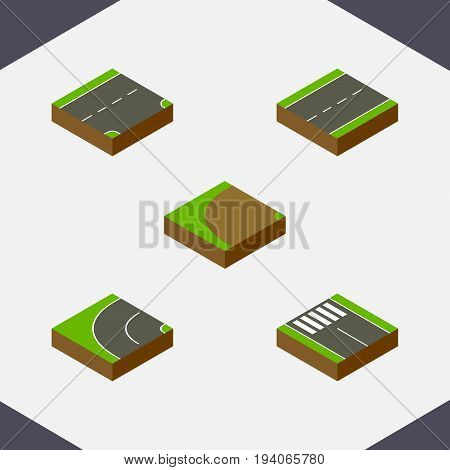 Isometric Way Set Of Strip, Turning, Down And Other Vector Objects. Also Includes Driveway, Pedestrian, Bitumen Elements.