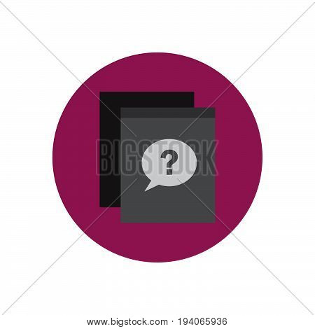 FAQ frequently asked questions flat icon. Round colorful button circular vector sign logo illustration. Flat style design