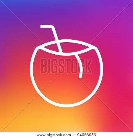 Isolated Cocos Outline Symbol On Clean Background. Vector Coconut Element In Trendy Style.