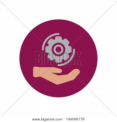 Hand holding cog wheel flat icon. Round colorful button Gear settings circular vector sign logo illustration. Flat style design