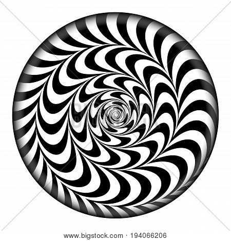 Radial Spiral Vector Psychedelic Illustration. Comic Rotation Effect. Black And White