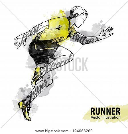 Hand Sketch Running Vector & Photo (Free Trial) | Bigstock