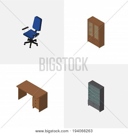 Isometric Furniture Set Of Sideboard, Office, Cabinet And Other Vector Objects. Also Includes Desk, Drawer, Chair Elements.