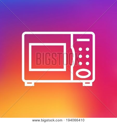 Isolated Electronic Oven Outline Symbol On Clean Background. Vector Microwave  Element In Trendy Style.