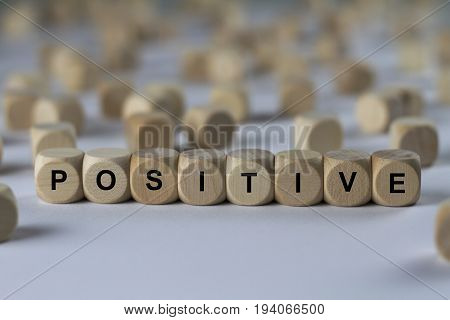 Positive - Cube With Letters, Sign With Wooden Cubes