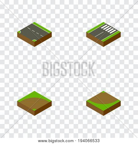 Isometric Road Set Of Sand, Footer, Turn Vector Objects. Also Includes Footer, Downward, Sand Elements.