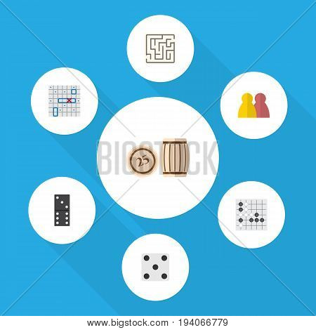 Flat Icon Play Set Of Bones Game, People, Backgammon And Other Vector Objects. Also Includes Game, Dice, Play Elements.