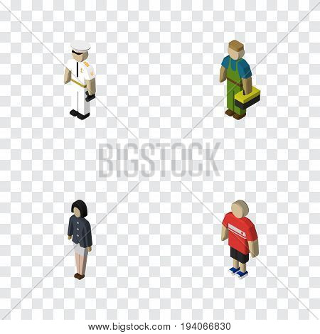 Isometric People Set Of Seaman, Plumber, Girl And Other Vector Objects. Also Includes Seaman, Man, Plumber Elements.