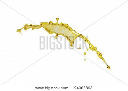 flying beautiful engine oil isolated over white background and many drops
