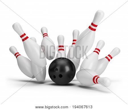 Bowling ball strike. 3d image. White background.