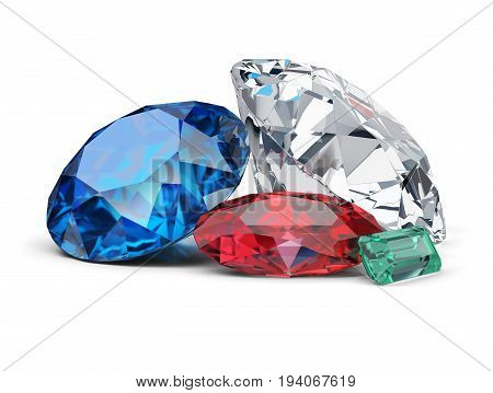 Diamond sapphire ruby and emerald. 3d image. White background.