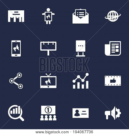 Set Of 16 Trade Icons Set.Collection Of Loudspeaker, Inbox, Man With Banner And Other Elements.