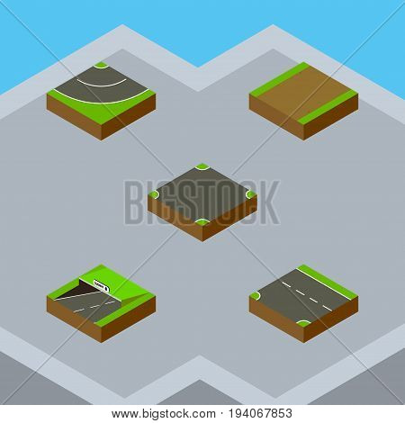 Isometric Way Set Of Road, Downward, Crossroad And Other Vector Objects. Also Includes Footpath, Highway, Downward Elements.