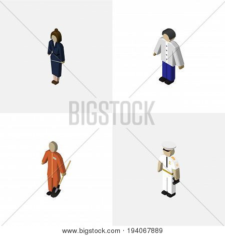 Isometric Person Set Of Male, Cleaner, Seaman And Other Vector Objects. Also Includes Sailor, Mariner, Cleaner Elements.