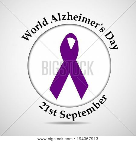 illustration of ribbon with World Alzheimer's Day 21st september text on the occasion of World Alzheimer's Day