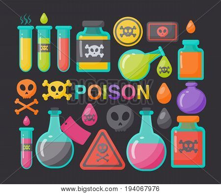 Poison vector flat icon set Flat design of danger toxic medical or magical symbols isolated on the black background cute vector illustration with reflections