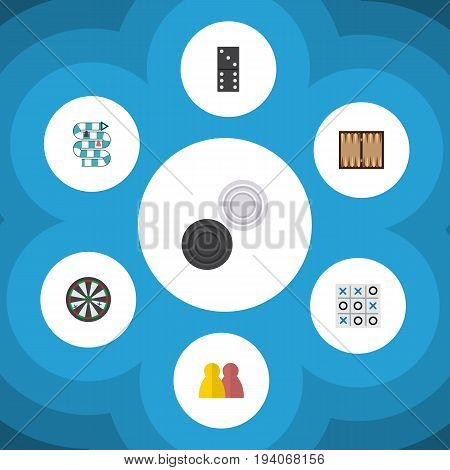 Flat Icon Entertainment Set Of Bones Game, Chequer, People And Other Vector Objects. Also Includes Tac, People, Game Elements.