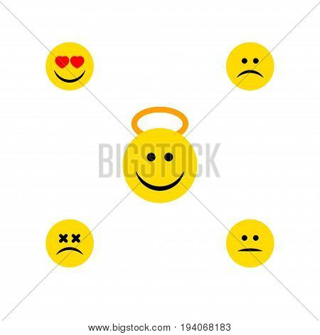 Flat Icon Expression Set Of Cross-Eyed Face, Angel, Sad And Other Vector Objects. Also Includes Smile, Emoji, Displeased Elements.