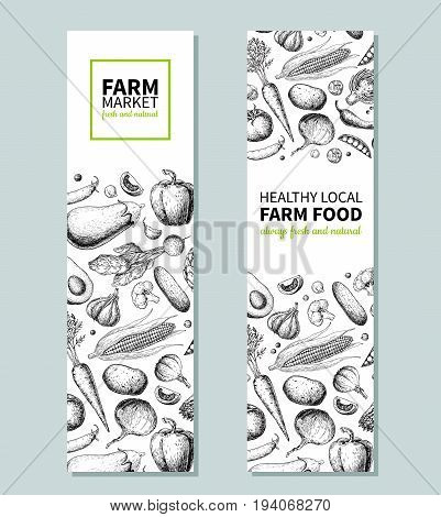 Vegetable hand drawn vintage vector banner. Farm Market poster. Vegetarian sketch of organic products. Detailed food drawing. Great for menu, template, brochure, label, logo, flyer, label