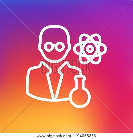 Isolated Scholarly Outline Symbol On Clean Background. Vector Scientist Element In Trendy Style.