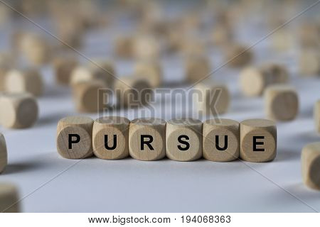 Pursue - Cube With Letters, Sign With Wooden Cubes