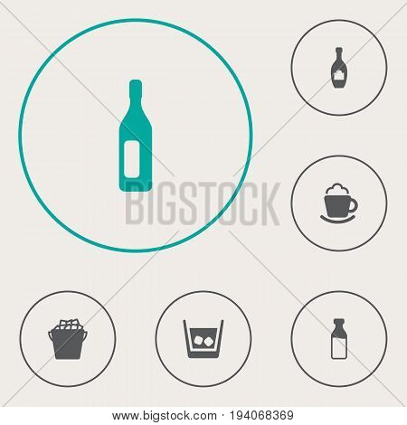 Set Of 6 Beverages Icons Set.Collection Of Cream, Milk Glass, Fridge And Other Elements.
