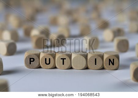 Put In - Cube With Letters, Sign With Wooden Cubes